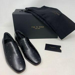 NIB Rag & Bone Tate Black Leather Studded Loafers